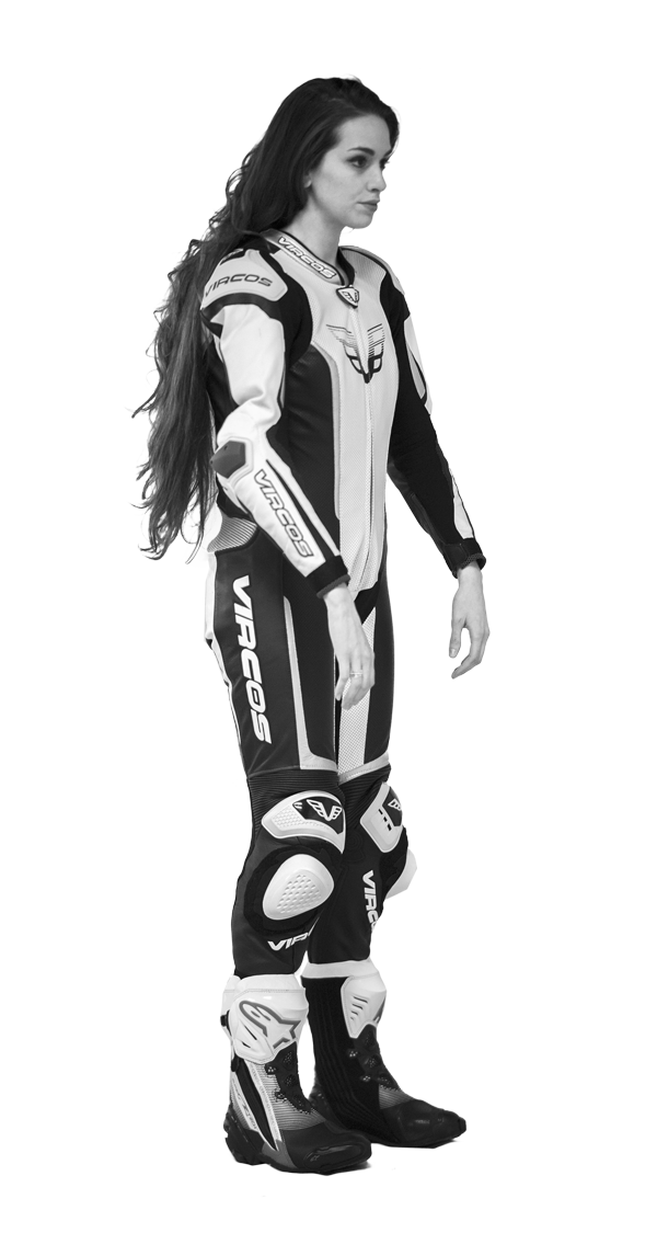 tuta moto donna racer lady bianco e nero