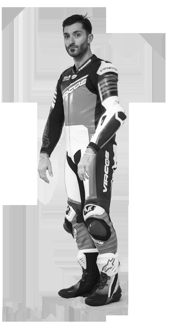 tuta moto personalizzabile in bianco e nero racer 1