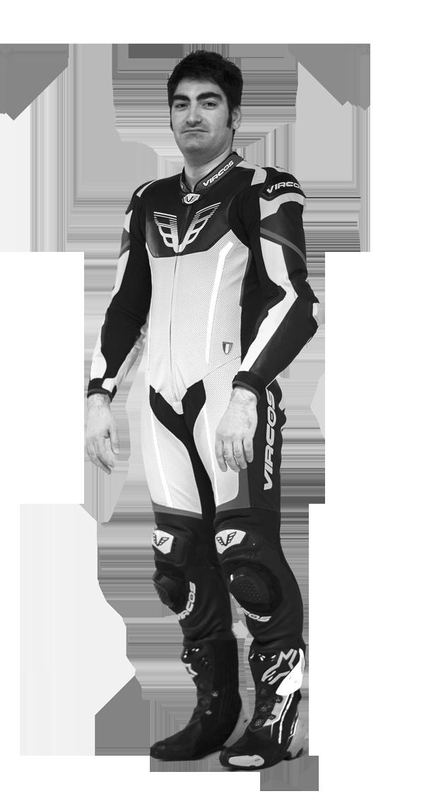 tuta moto in bianco e nero racer 5