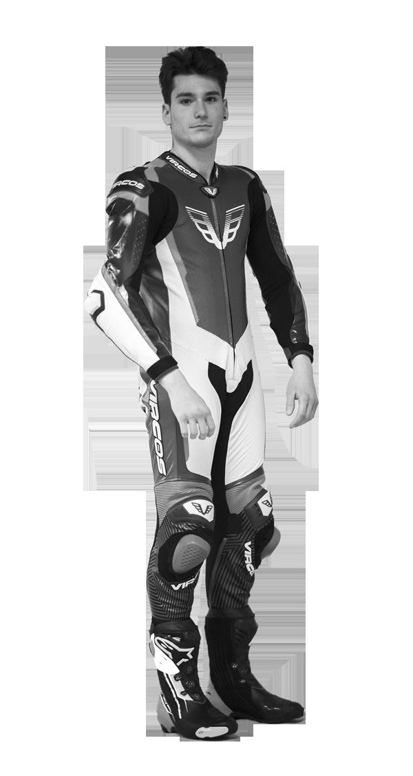 tuta moto in pelle personalizzabile in bianco e nero