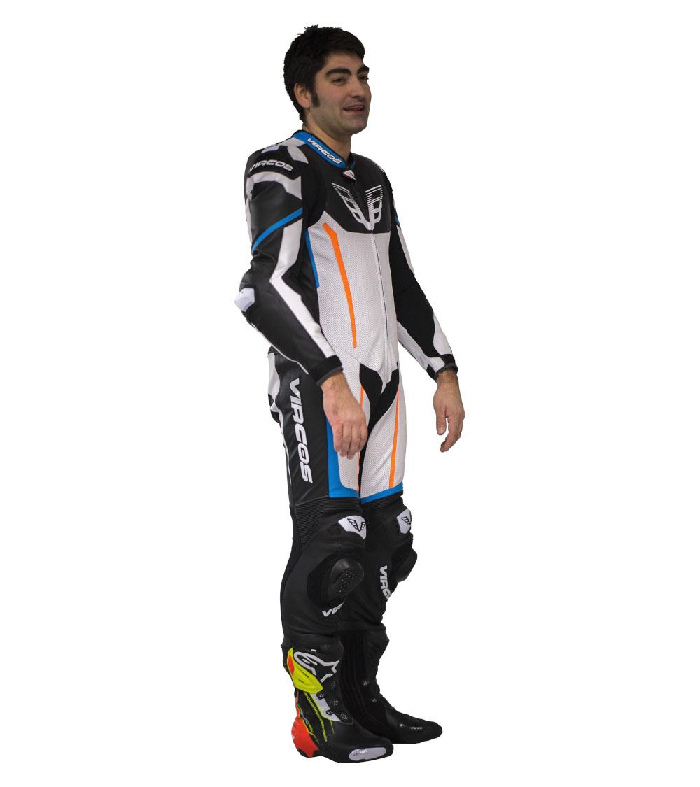 dettaglio laterale destro tuta moto su misura racer 5