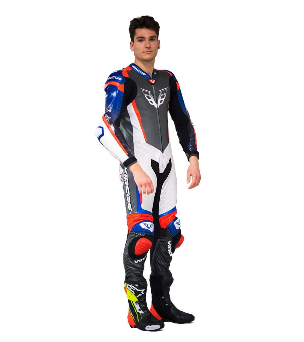 dettaglio lato destro tuta moto racer 7