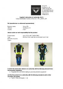 Dichiarazione di conformità dispositivi di protezione individuale Gp12